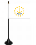 Rhode Island Desk / Table Flag with plastic stand and base.